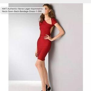Herve Leger Asymmetrical Red Bandage Dress M
